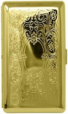 Gold Victorian Scroll (Full Pack 120s) Metal-Plated Cigarette Case & Stash Box