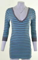 HOLLISTER Womens Top 3/4 Sleeve Size 14 Large Blue Striped Cotton  IA21