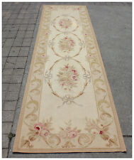 10' RUNNER Aubusson Rug ANTIQUE FRENCH PASTEL Wool Handmade French Stair Carpet