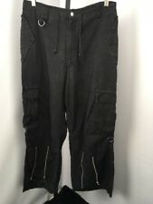 Tripp NYC Mens M EMO Cargo Twill Convertible Pants RAVER Wide Leg Goth Punk