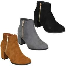 Ladies Chelsea Boots Womens Suede Look Block Heel Shoes Ankle Zip Casual Winter