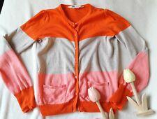 💗🦋 H&M Strickjacke Cardigan Gr. 122 / 128 / 134 orange rosa gestreift