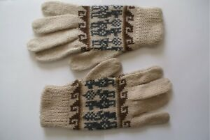 Alpaca Gloves from Ecuador S/M Unisex with Traditional Designs