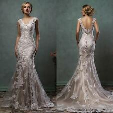 New Elegant Lace Applique Mermaid Backless Wedding Dress Bridal Gown Custom