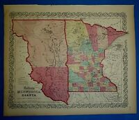 Antique 1860 Colton's Atlas Map ~ DAKOTA TERRITORY - MINNESOTA ~ Old Authentic