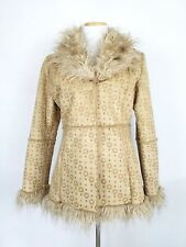 Gi & Jo Womans Coat Size Large Faux Vegan Suede Embossed Faux Fur Shearling