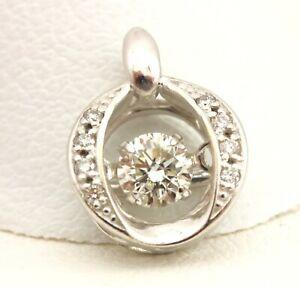 18k white gold floating diamond pendant 0.5 inch 0.23ctw 0.83g estate