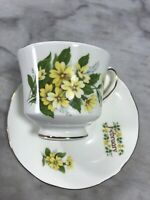 Duchess Fine Bone China Month of FEBRUARY Floral Elegant Gilded Tea Cup Saucer