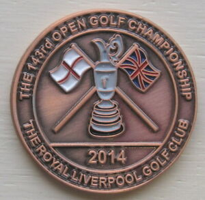 2014 OPEN LARGE BRONZE COMMEMORATIVE COIN GOLF BALL MARKER ROYAL LIVERPOOL GC