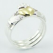 Silver Ring Stackable 925 Sterling Claddagh 3 Rings in 1 Heart Celtic Size 7us