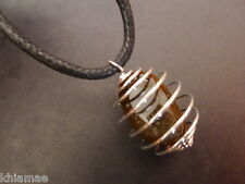 Large Tigers Eye Silver Spiral Necklace cord pendant gemstone wicca pagan mens