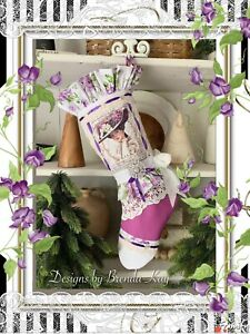 Victorian Lady Purple Flowers Christmas Stocking~Vintage Pearl Buttons~Lace Trim