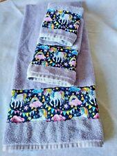 Lavender Bath Hand Towel Wash Cloth Unicorn Rainbow 3 Pc Set