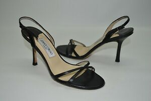 Jimmy Choo India Leather Strappy Sandals Heels Black Slingback Sandals 38 8