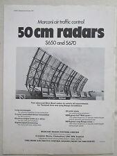 1/1970 PUB MARCONI AIR TRAFFIC CONTROL SYSTEMS 50 CM RADAR S650 S670 ORIGINAL AD