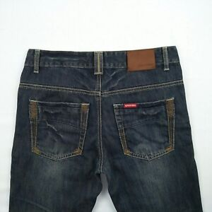 SPITFIRE Tapered Button Fly Blue Faded Denim Jeans Men's Size 30 Awesome Fades!