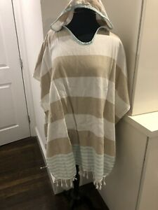 New Turkish T Adults Unisex Coverup Swim Pullover Terry Towel Blue Tan Stripe