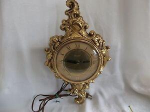 Vtg United Victorian Style Clock Gold Tone Brass? / Bronze? Electric  No.84