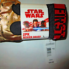 STAR WARS Men's Boxer Briefs 2pk FO VS RESISTANCE Retail tag $30 Sz L fast ship!