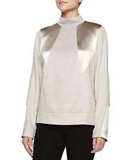 Jason Wu Gold Grey Mock-Neck Alpaca Blend Pullover Sweater Size 12 $1,990