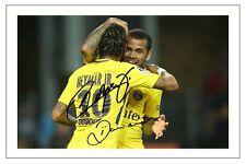 NEYMAR JR & DANI ALVES PARIS ST GERMAIN PSG AUTOGRAPH SIGNED PHOTO PRINT SOCCER