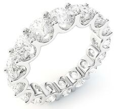 "5.01 ct Round Diamond Ring Platinum Eternity ""U"" Band Size 5 0.31 ct each"