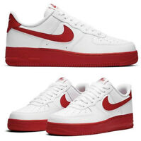 New NIKE Air Force 1 Low Leather Athletic Sneaker Shoes Mens white red all siz