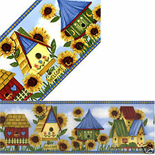 Birdhouse Sunflowers Floral Welcome Tweet Home Blue Yellow Wall Paper Border
