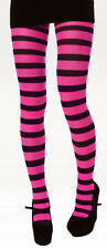 ADULTS NEON BRIGHT STRIPY TIGHTS YELLOW, ORANGE, PINK OR GREEN ONE SIZE