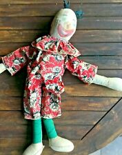 Vintage/Antique Cloth Clown Doll 21 Inchs in Outfit Painted Face 1930's ?