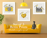 Set of 3 Yellow Ochre Mustard Retro Wall Art Prints. Yellow Wall Art Prints