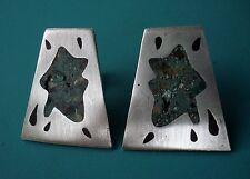 Metales Casados Taxco Sterling Silver Splash Design Stone Inlay Modern Earrings