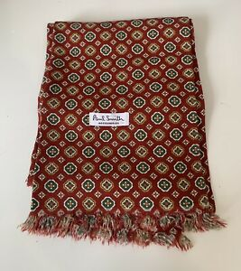 Mens Paul Smoth Paisley Scarf Red Mod Long