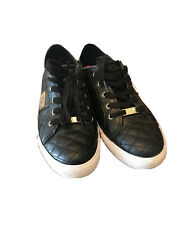 G by Guess Women's Lace Up Leather Quilted Pattern Sneakers Shoes Black Sz 10