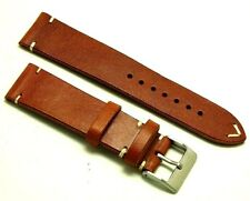 22mm L, Brown/White Genuine Leather Watch Strap Handmade Vintage Classic Style