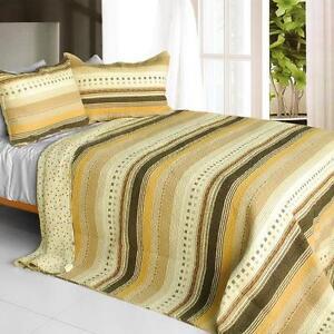3 PC Spring Waltz 100% Cotton Vermicelli Queen Quilt Shams yellow tan stripes