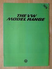 VOLKSWAGEN Range 1978 UK Mkt Sales Brochure - VW Passat Scirocco Golf Polo