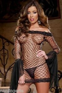 Dreamgirl Lingerie Sexy Seductive Siren Shoulder Fence Net Dress and Thong Set