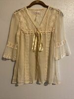 Free People Boho Gypsy Lace Embroidered RUFFLE SLEEVE button up SILK blouse XS