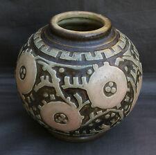 MOUGIN  NANCY Vase en grès de forme boule à décor géométrique Condé