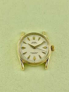 Rolex Vintage 1960 34mm Oyster 14K Yellow Gold Bombay Lugs Watch Head Ref 6593