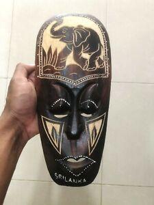 Ceylon Handmade Wooden Show Wild Elephant Figurine Mask Wall Home Décor art
