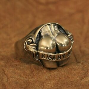 LINSION Details Brass Sexy Hips Buttocks Ring Kiss My Ass Mens Punk Ring BR148B