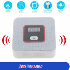 LCD Light Gas Leak Detector Alarm Sensor Voice Tester for Home Security White