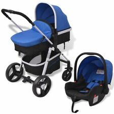 vidaXL 3in1 Kombi Kinderwagen Buggy Babywanne Babyschale Aluminium Blau/Schwarz
