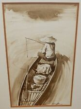 HAMILTON THAILAND FISHERMAN IN A BOAT ORIGINAL OIL ON PAPER SEASCAPE PAINTING