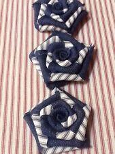 3 Burlap Flowers Midnight Navy Blue Ticking Rustic Wedding Table Cake Top