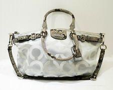 Coach 18650 Madison Op Art Sateen Sophia Hand Bag Light Grey and Python