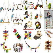 Newest Parrot Pet Bird Chew Cages Hang Toys Wood Large Rope Cave Ladder Chew Toy
