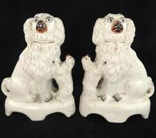 PAIR ANTIQUE VICTORIAN STAFFORDSHIRE FIGURES SPANIELS WITH PUPPIES PUPS